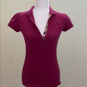 Auth Burberry Brit fuchsia 4 button placket top